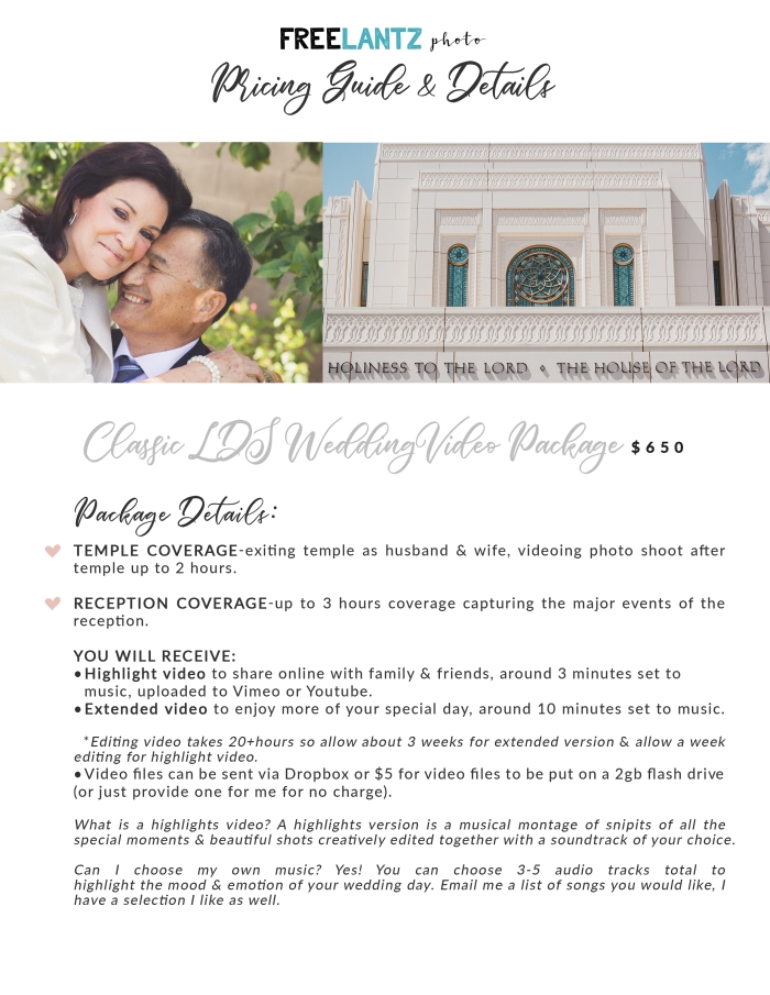Classic LDS Wedding Video Pricing